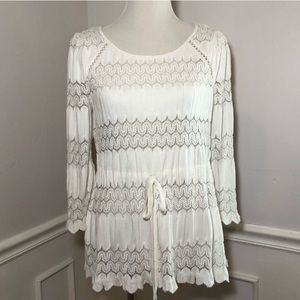 Free People White Lace Top Open Back Medium